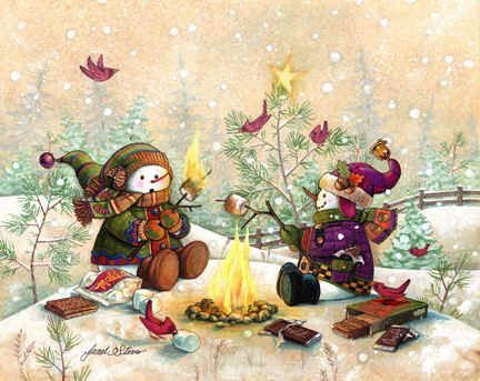 S'more Winter Fun by Janet Stever, artist and illustrator, from the Snow Family Series.
