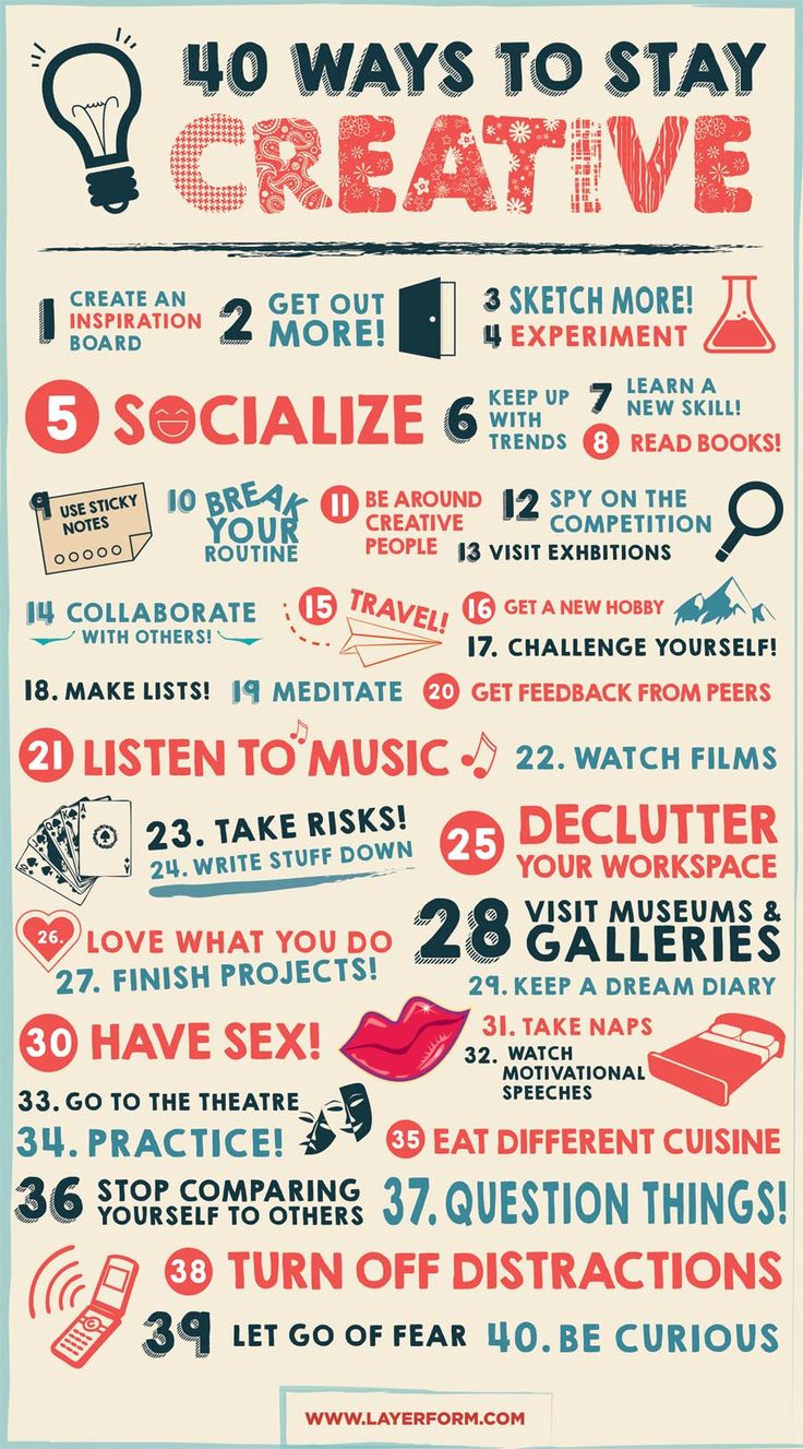 Entretenir sa créativité, 40 solutions.  Via le korb. source : http://www.layerform.com/40-ways-stay-creative-infographic/