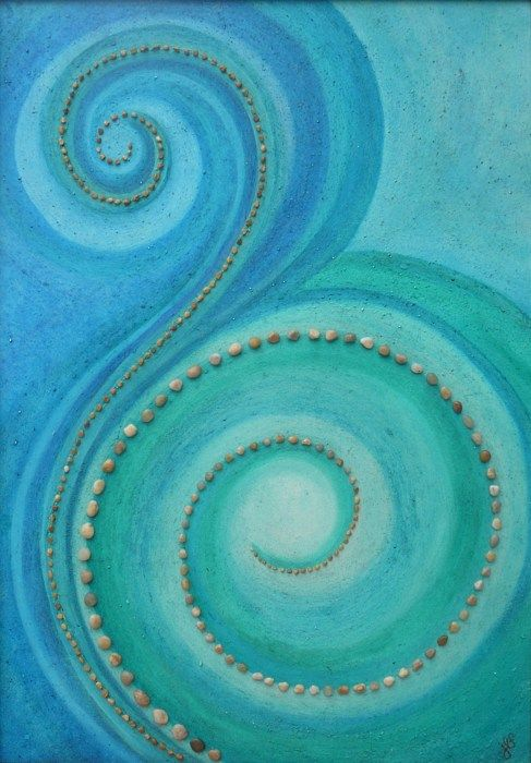 beautiful art in green and blue - inspiration for laundry or bathroom floors at Little River
