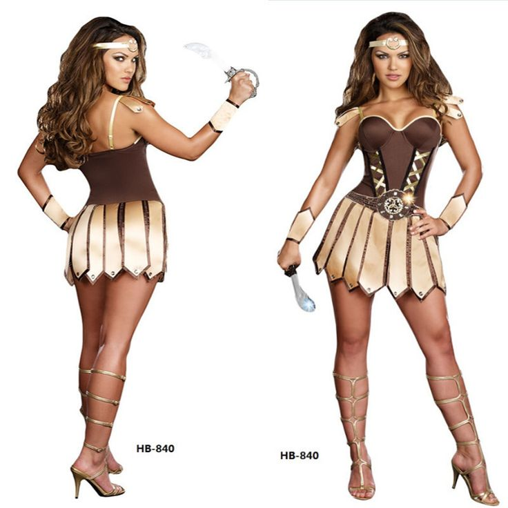 Real Shot Sexy Brown Sparta Woman Warrior Role Play Costumes Female Halloween Masquerade Viking Warriors Cosplay H156101