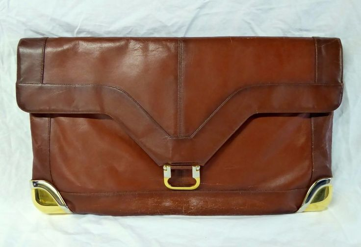 Vtg Distressed Brown Envelope Clutch Handbag Purse Faux Leather Made Italy #LouTaylor #Clutch