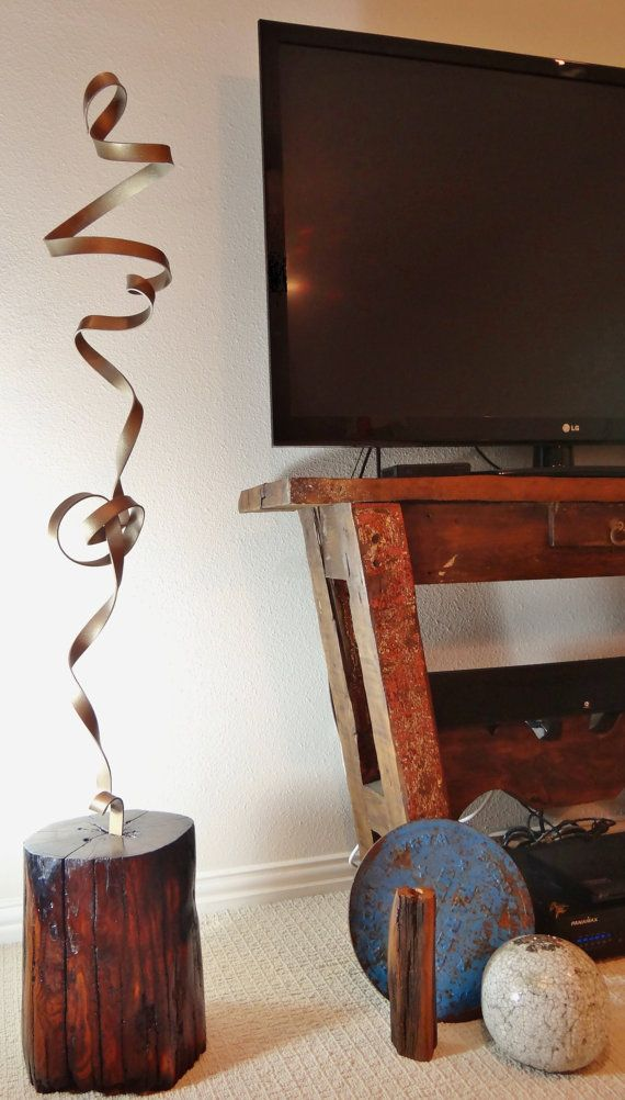 "Artist SIGNED sculpture ""BANDEROLE."" Urban, Industrial, Contemporary, Modern, Handcrafted, Vintage, Osage Orange, Metal"