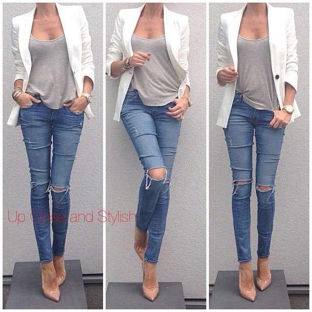 Today -  #Zara blazer, #Intermix tank top, #7forallMankind jeans and #ChristianLouboutin 'Pigalle' 120mm.
