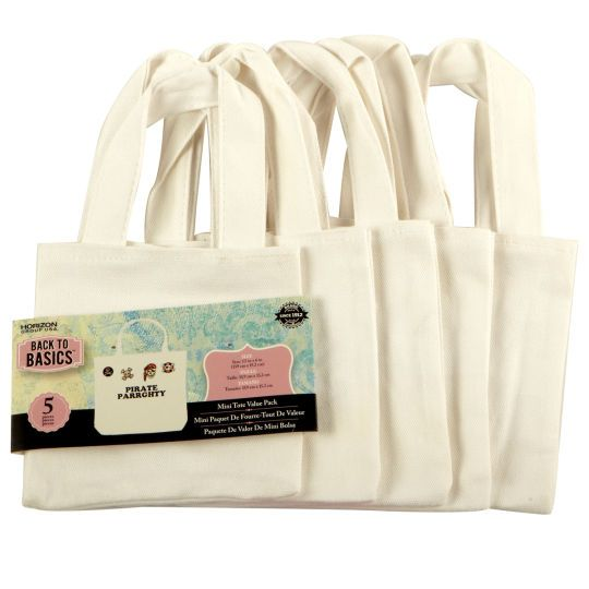 Back To Basics Canvas Tote Bag Mini 5 Pack Crafts