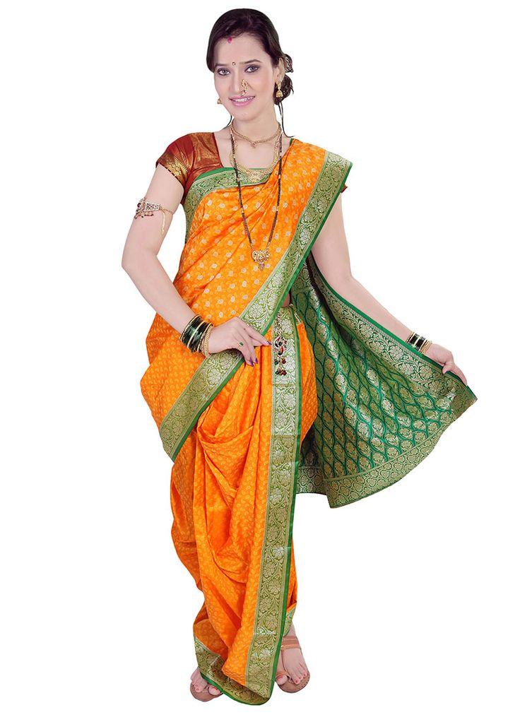 Orange Jacquard Enriched Nauvari Saree