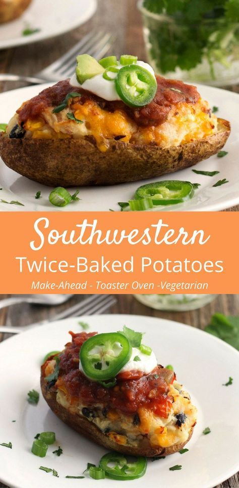 The perfect make-ahead meal, these Southwestern Twice Baked Potatoes taste like a plate of nachos crashed into creamy mashed potatoes. Twice Baked Potatoes | Toaster Oven Cooking | Potato Recipes via @toasterovenlove