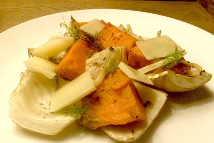 Geroosterde venkel met zoete aardappel en pecorino