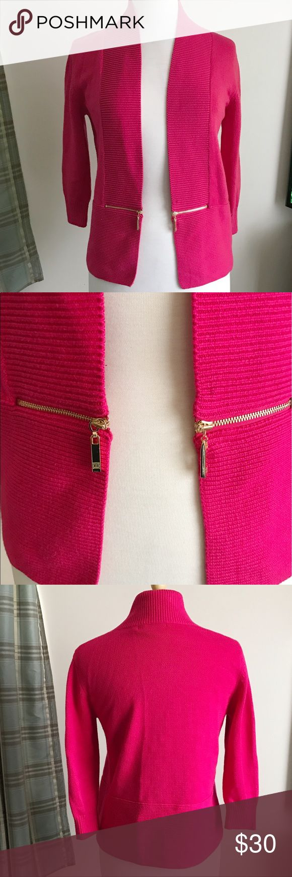 Ivanka Trump Pink Cardigan Sweater Ivanka Trump pink open front cardigan sweater with gold zippers. Size medium. 60% cotton 40% acrylic. Very good condition. Ivanka Trump Sweaters Cardigans