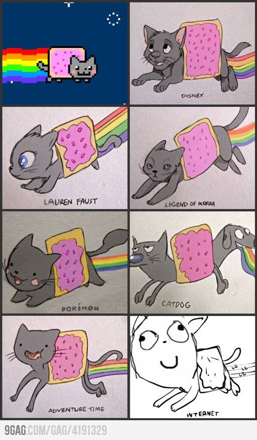 Nyan cat in different styles    zomg so awesomeeee