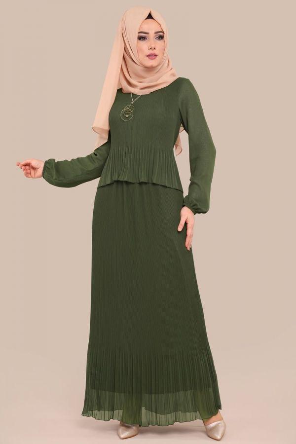 a02e4d708042c ELBİSE Piliseli Tesettür Elbise LRJ9002 Haki | Bluz etek elbise ve ...