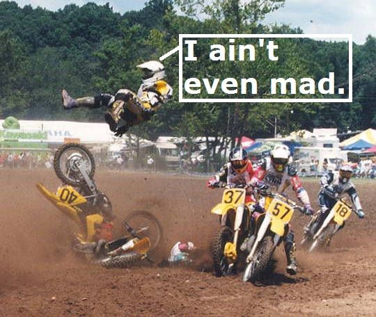 A Dirt Bike Crash Picture And Motorcycle Rider Accident With Him Flying Through The Air In This Racing Mishap Motocross Competition Wipeout