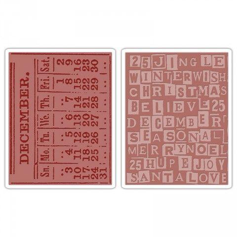 Sizzix Texture Fades Embossing Folders 2PK - December Calendar & Holiday Words Set