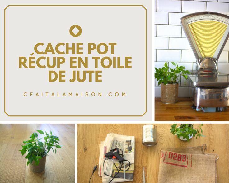 cache pot r cup en toile de jute boite de conserve diy d coration. Black Bedroom Furniture Sets. Home Design Ideas
