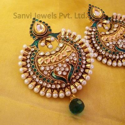 Traditional Indian Earrings - Kundan Polki Chaand Baali Earrings
