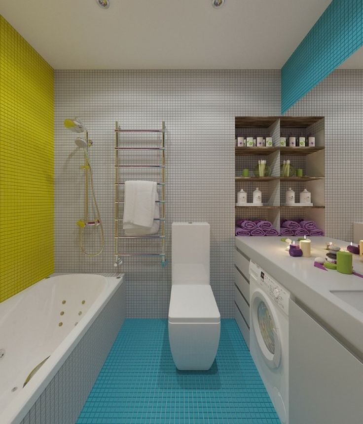Ba o moderno con mosaicos de colores ba os hermosos for Mosaicos banos modernos