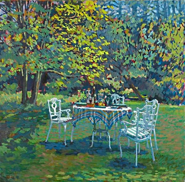 Annabel Gosling  —  The garden table at Valley Farm (600x592)