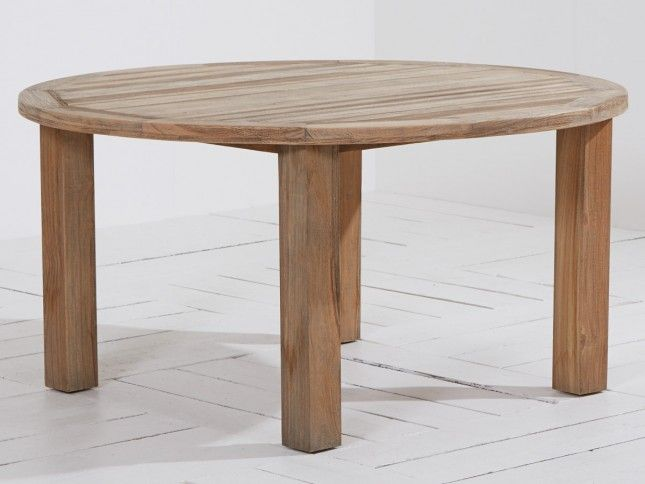 ROUGH-X dining tuintafel ø 150cm Old Teak Greywash van ROUGH Furniture