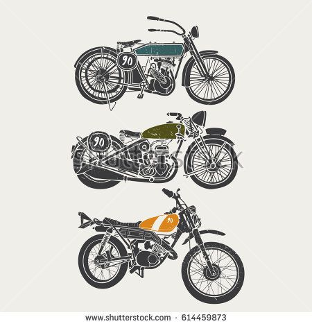 vintage grunge motorcycle set graphic vector design template