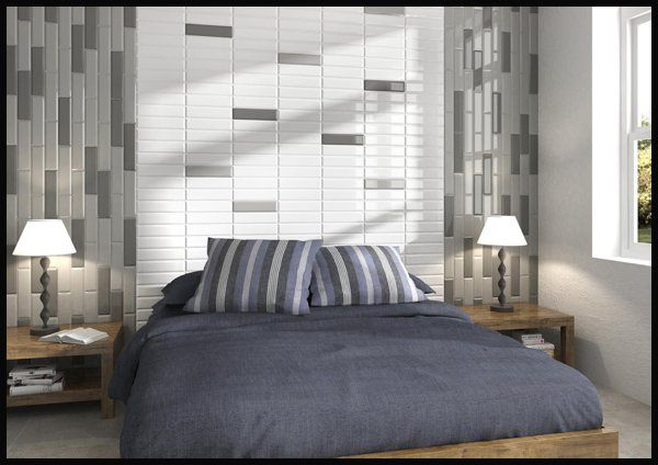 Subway tile trends bedroom headboard feature wall here for Bedroom designs tiles