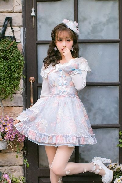 2a64e8414190 Princess sweet lolita dress Candy rain Japanese sweet gauze sleeve lace  dress female slim long sleeved dress C22AB7021