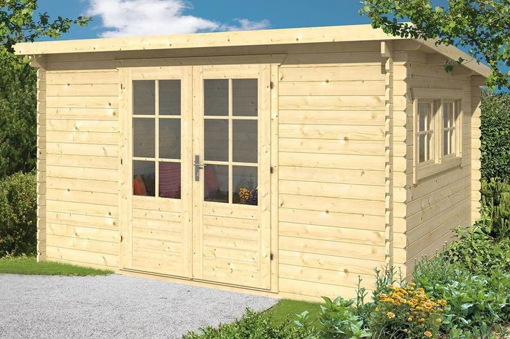 Pultdach Gartenhaus aus Holz, Maße 380x300cm Q&S