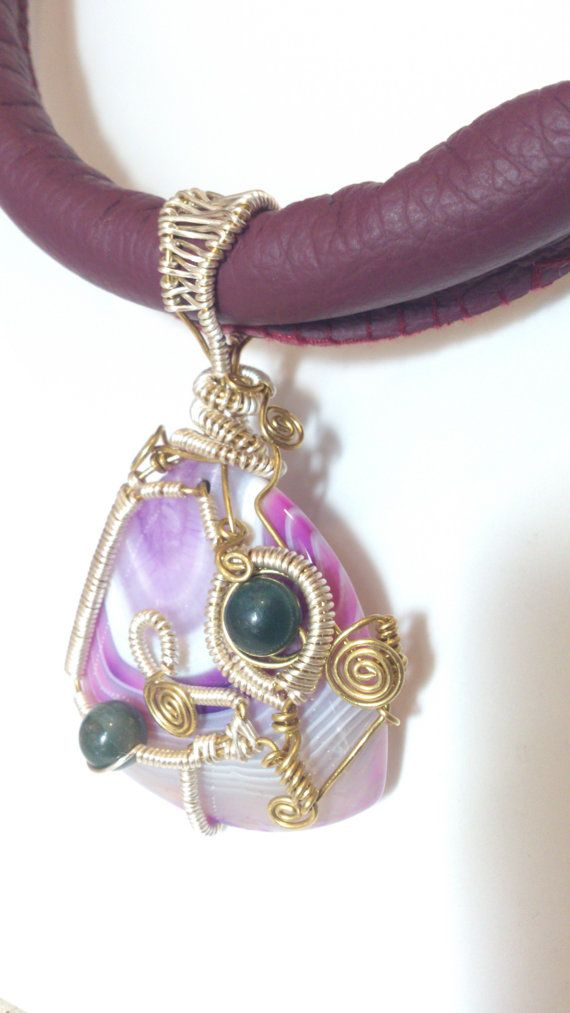 Natural Agate Wire Weave Fushia Leather Necklace by Solace Designs, £80.00