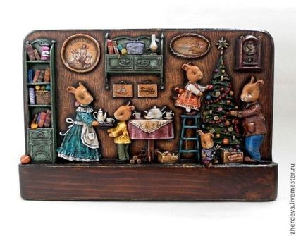 Christmas in the family of bunnies. Welcome to the cozy burrow Mr. Bunny! Bas-relief of paper on a wooden base. Multi-layer painting with tempera art. No industrial workpieces, no molds and no forms for low tide - at all stages only author handwork . It was sold in a private collection. Artist - Zherdeva Maria.