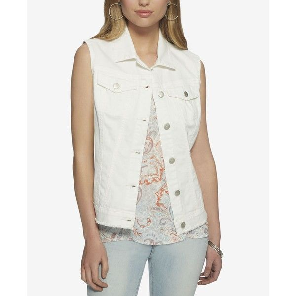 Jessica Simpson Pixie Denim Vest ($30) ❤ liked on Polyvore featuring outerwear, vests, white, denim vests, jessica simpson vest, white denim vest, white waistcoat and white vests