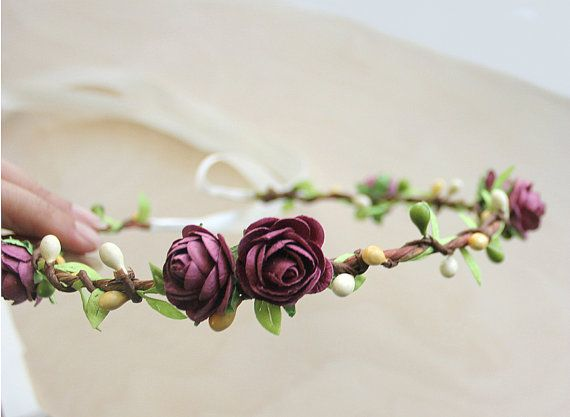 Rose Garden Floral Crown, Plum Flower Crown. Woodland, Paper Flowers, Spring, Fall, Hair Wreath, Bridal, Weddings, Garden Wedding