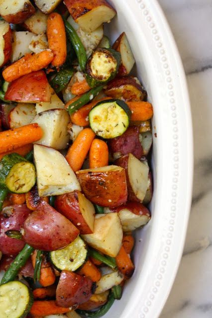 Roasted Herbed Veggies. Red potatoes, yellow bell pepper, green beans, zucchini, carrots, onion. Toss w/olive oil, fresh thyme, lemon juice, salt, pepper, garlic. Roast at 450°F for 35-45 mins.