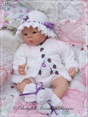 Lacy Yoked sunsuit 16-22 pulgadas muñeca / patrón 0-3m baby-renacer de tejer, tejer patrón muñeca, modelo que hace punto del bebé