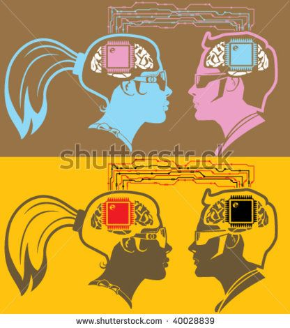 Male and female brain chip connect stock vector
