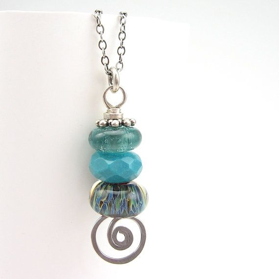 stacked turquoise lampwork pendant sterling silver
