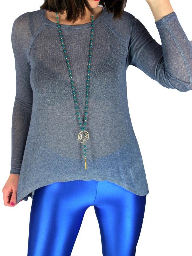 BSB Πλεκτή ασύμμετρη μακρυμάνικη μπλούζα