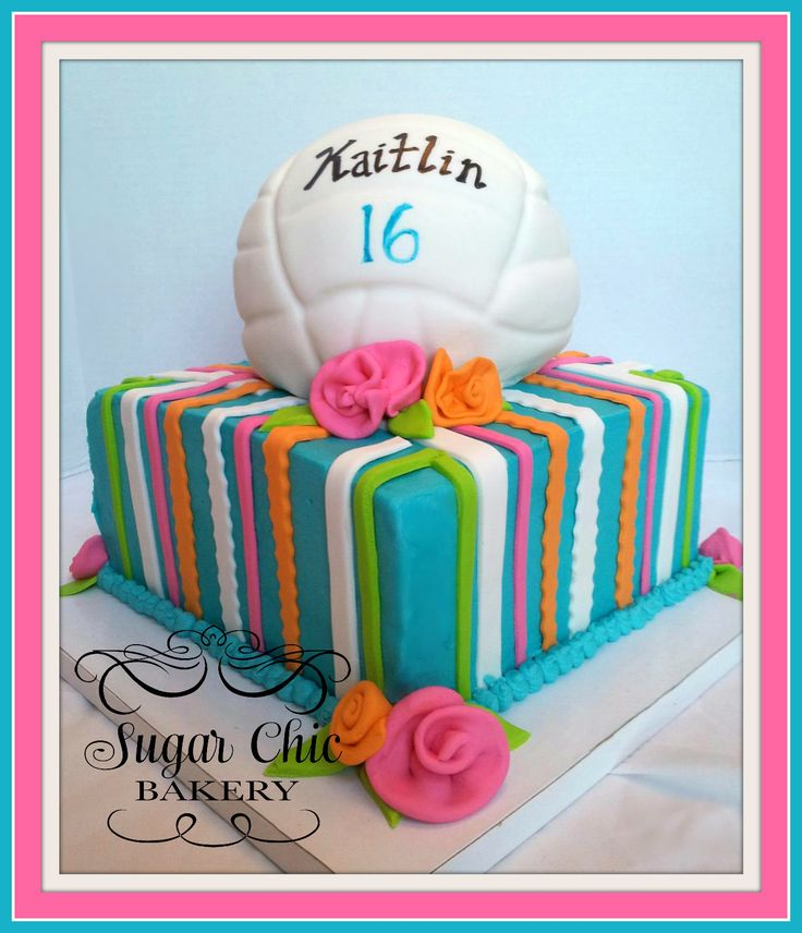 Volleyball - 8 inch butter cream with fondant volleyball.
