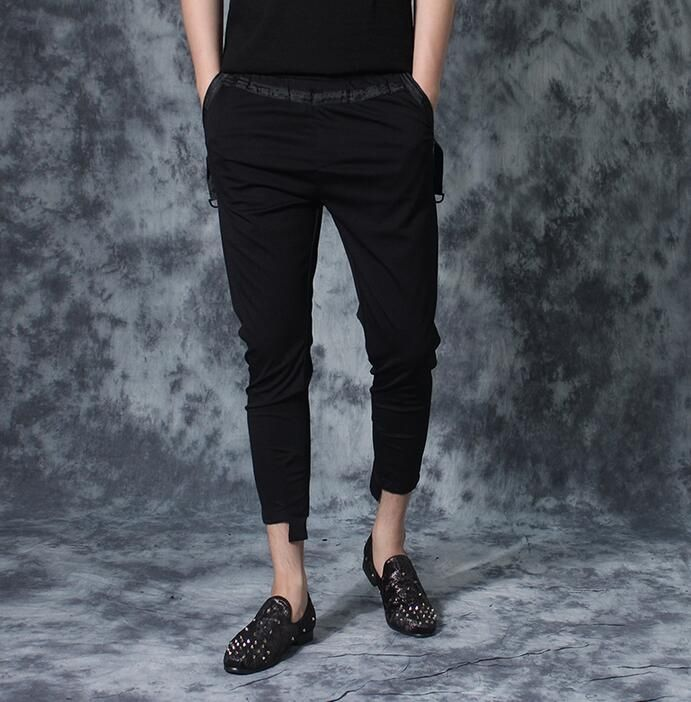 Personalized applique metal decoration skinny pants mens trousers ribbon ankle length trousers men summer black british style