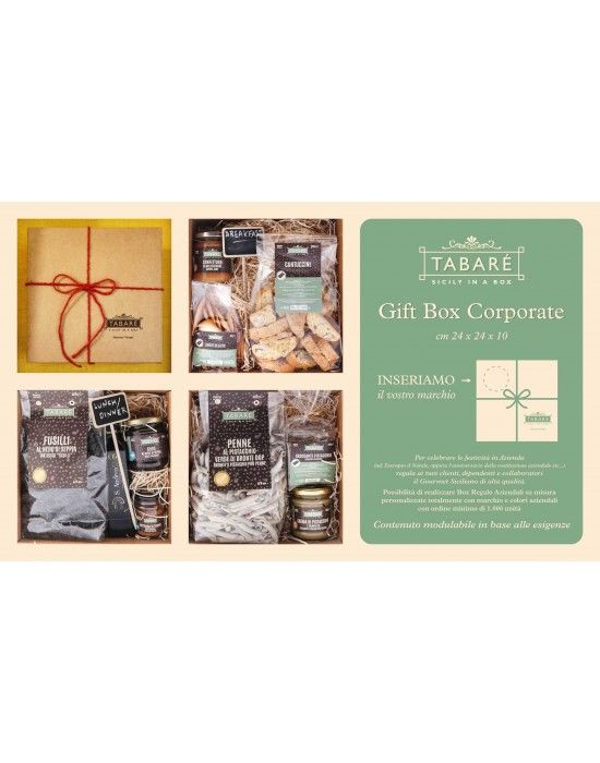 """Gift Box  For your celebrations, let choose the high quality sicilian Gourmet in a refined and elegant packaging.  The box can be """"big"""" (cm 24x24x10) or """"small"""" (cm 13x13x6). You can customize it with your company's logo, next to the Tabarè one. Tabarè's logo is on the lower right and you can print your logo on the upper left, for example.  Our products tags are customizable too.  #gift #giftbox #siciliafood #food #souvenir #companies #sicilianproducts #gourmet #taste #tabarè #sicily"""