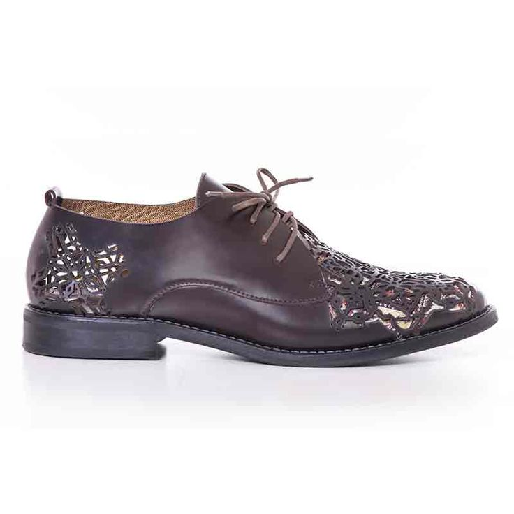 Persian carpet inspiration derby shoes. Made from natural leather. Embellished…