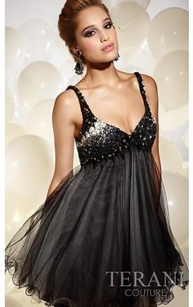 Short V-Neck Babydoll Dress by Terani TI-P697