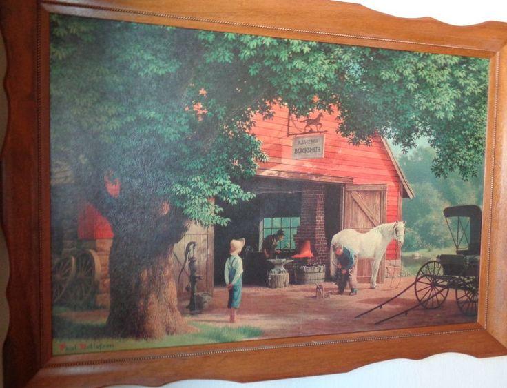 Vtg Paul Detlefsen Blacksmith 41 x 29 Scene Framed Print Horse Buggy Days  #Vintage