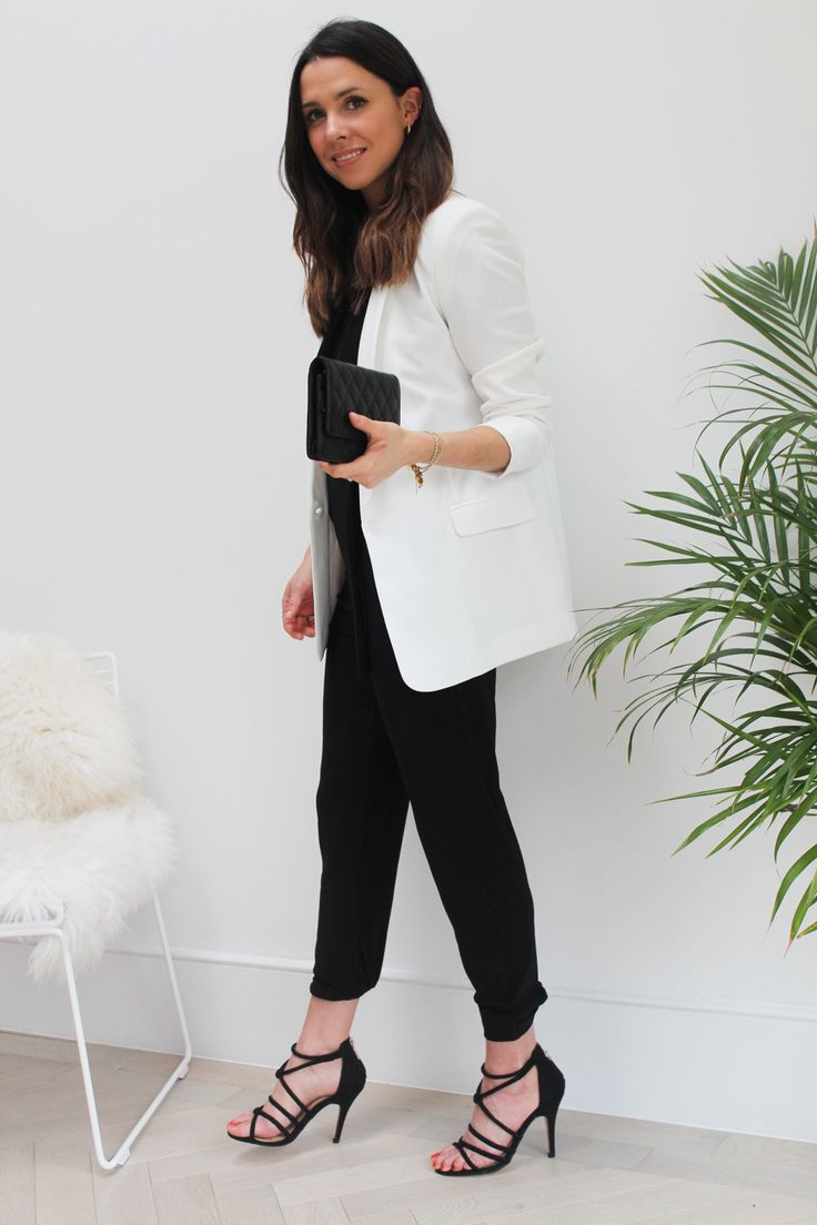Black jumpsuit, white blazer