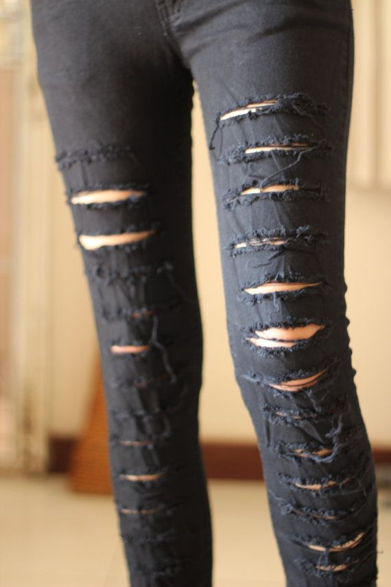 M , L , XL  --- Rock punk black Destroyed ripped Jeans Grunge women Skinny stretch LOW RISE fit cotton spandex pants fall)... Yes Please! :)