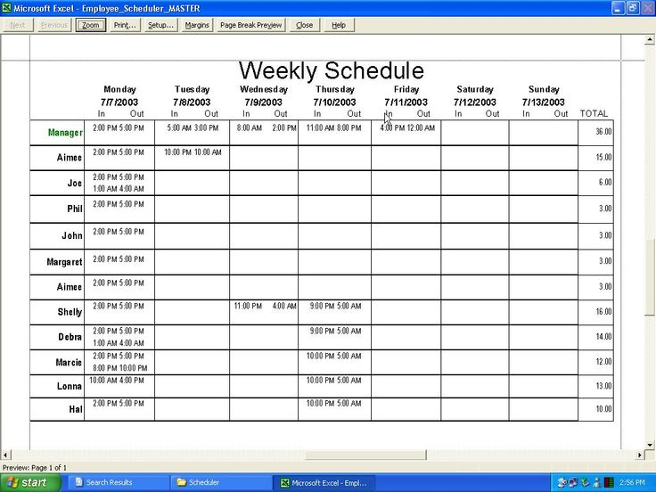 timetable format excel