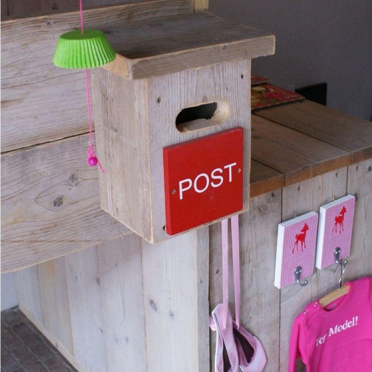 #Steigerhouten Halfhoogslaper #detail #brievenbus   Zomerzoen.nl