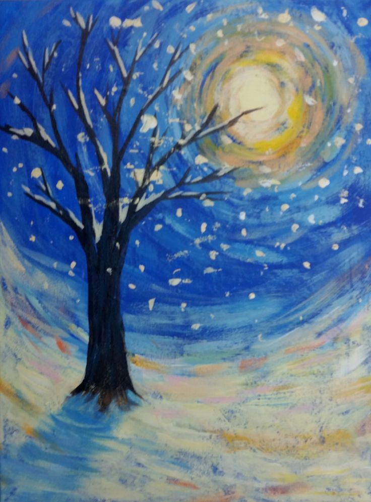 Snowy Tree Nightscape Painting suitable for kids