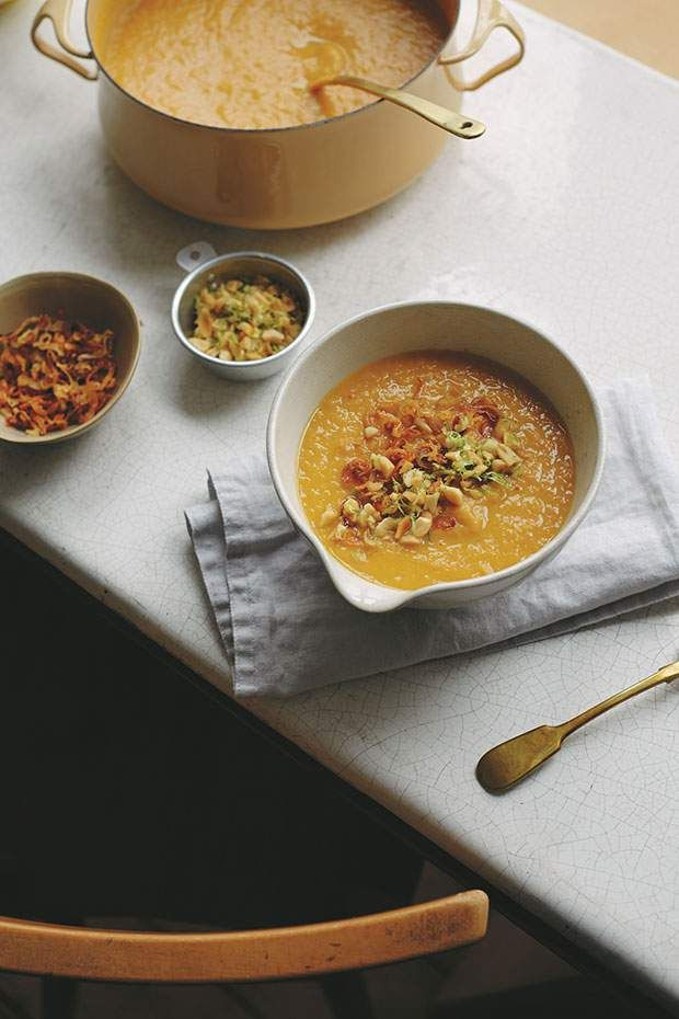 Sweet potato, lime and peanut soup from A Modern Way to Cook by Anna Jones.