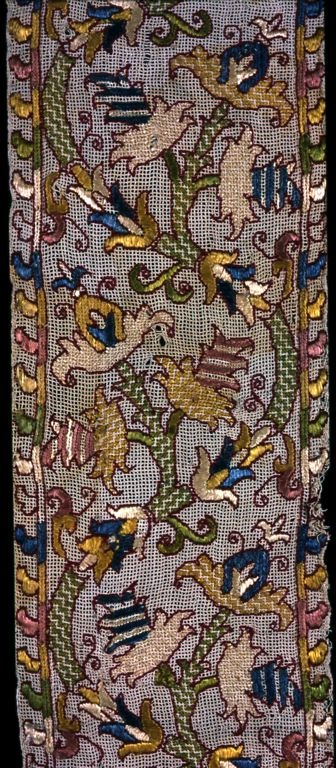 Italian | Border, 17th century | Linen, plain gauze weave embroidered with silk floss