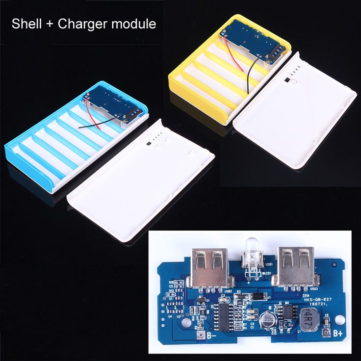 Power Bank Case Shell + 5V 2A Power Bank Charger Module Charging Circuit Board Step Up Boost Power Module Dual USB 1A DIY