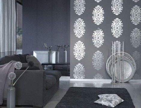 Silver metallic wallpaper design, LOVE!