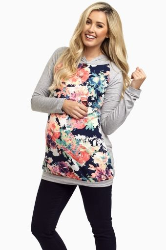 Grey Neon Floral Hooded Maternity Top
